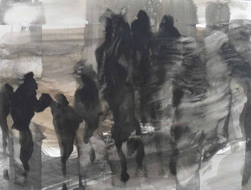 Vandrere,tusj,57 x 74 cm