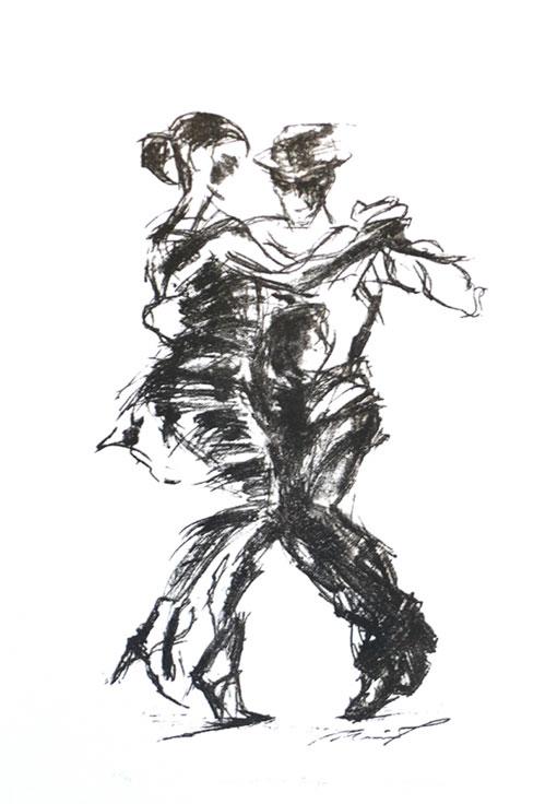 Tango, lito, 70 x 44cm